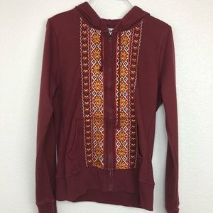 Lucky brand embroidered zip up hoodie hooded